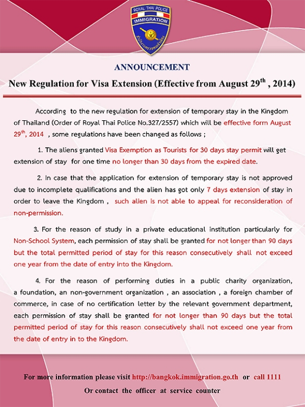new regulation visa extension thailand