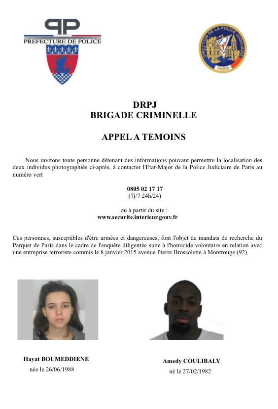 French police named the suspects in the Montrouge shooting in southern Paris as a woman named Hayat Boumeddiene and a man named Amedy Coulibaly, according to Reuters News Agency. (See tweet below from France 24's @JulienPain)